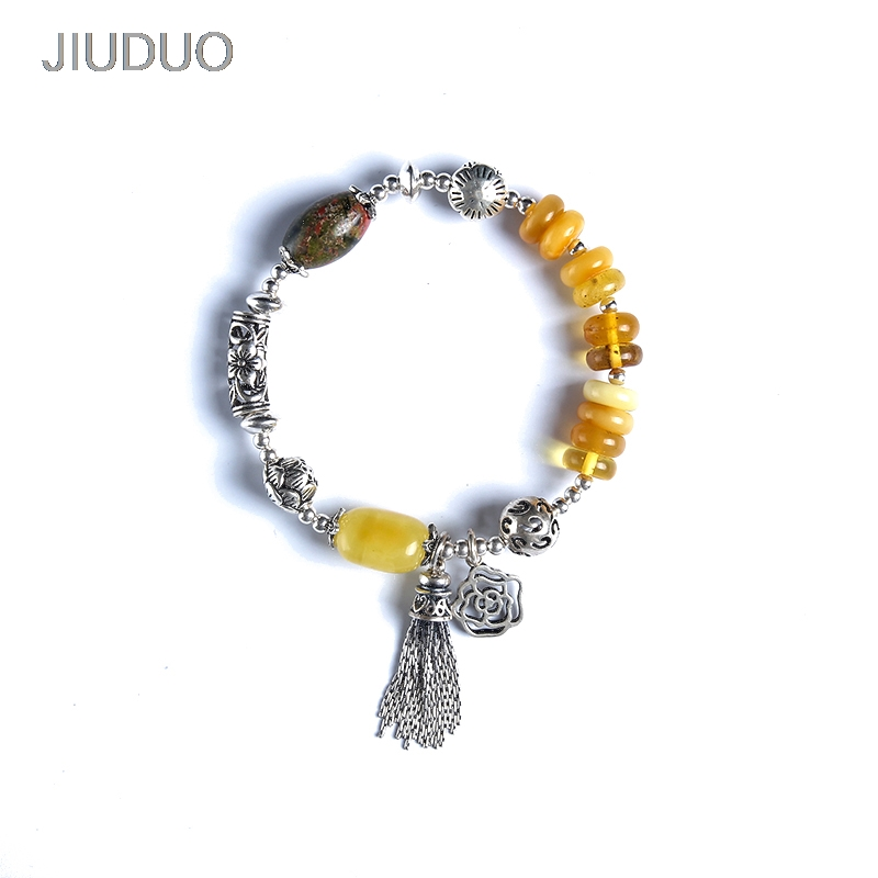 fashion natural amber bracelet full of honey chicken yellow old wax bead beads multi-turn DIY hand string female models genuine natural leaflets sandalwood bracelets rice buddha beads hand string multi layer wood bracelet fashion jewelry