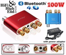 2017 New Nobsound HiFi 100W Mini TPA3116 Bluetooth 4.0 Digital Amplifier Amp With Power Supply Free Shipping Blue or Red