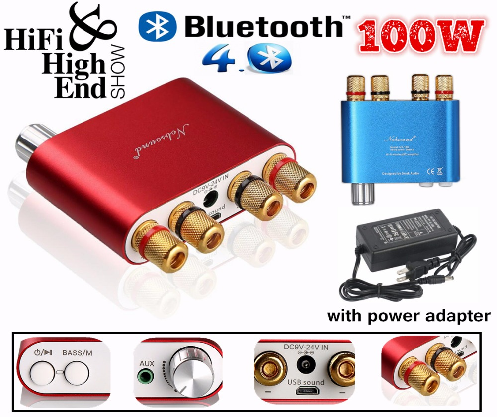 2018 New Nobsound HiFi 100W Mini TPA3116 Bluetooth 4.0 Digital Amplifier Amp With Power Supply Free Shipping Blue or Red 2017 new nobsound hifi 100w mini tpa3116 bluetooth 4 0 digital amplifier amp with power supply free shipping blue or red