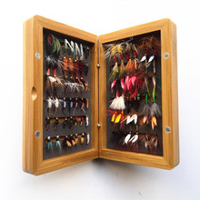 Free Shipping 84pcs dry and wet fly lures with fly box(bamboo) Trout lures fly fishing bait fake lure fishing tackle soft lure