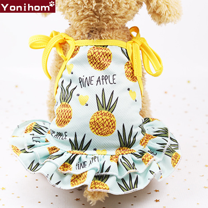 Pet Dog Clothes Beach Couples Summer Dog Dress For Small Dogs Clothing Breathable Fruit Dress Skirt Pet Vest Chihuahua Yorkie