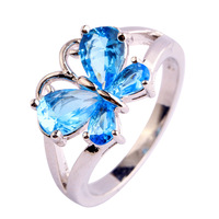 lingmei Free Shipping Wholesale New Jewelry Shiny Blue Topaz  Silver Ring Size 6 7 8 9 10 11 Beautiful Butterfly For Women's