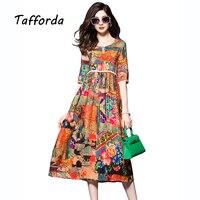 Tafforda 2017 Frühjahr Neue Hohe Taille Chinesischen Nationalen Stil Printing Silk Kleid Sommer Lose Beiläufige Hochwertigen frauen Kleid