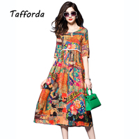 Tafforda 2017 Spring New High Waist Chinese National Style Printing Silk Dress Summer Loose Casual High