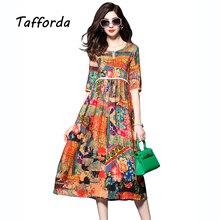 Tafforda 2017 Весна Новые Высокой Талией Китайский Национальный Стиль Печати Шелковое Платье Летом Свободно Случайные Высокого Качества для женщин Платье