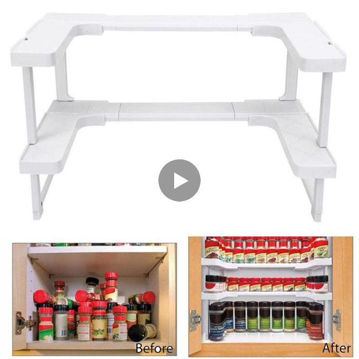 2 Layers Adjustable Spice Rack Countertop Organizer for Cabinet Storage Kitchen Spice Spice Rack Cabinet Cupboard
