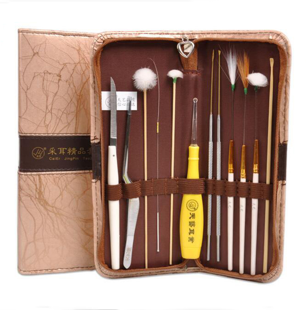 12pc Ear Pick Set Ear Wax Remover Cleaner Tool with Leather Case