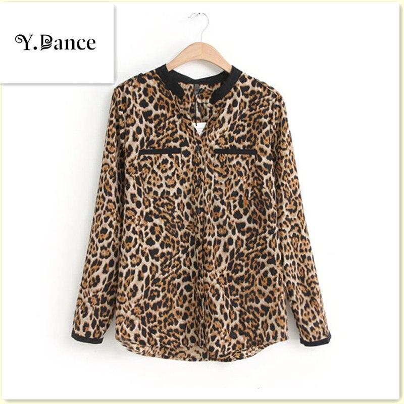 2017 Sell like hot cakes Women Blouse Leopard Print Long Sleeve V-Neck Top Free Shirts Plus Size Shirt Clothing Camisa
