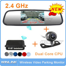 """Wireless Car Parking Reverse Backup System include 4.3"""" Monitor Mirror Display/4 Distance Sensors 6 colors Optional/Rear camera(China (Mainland))"""