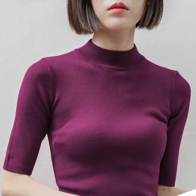 turtleneck knitted women t shirts 2019 spring new short sleeved solid slim sexy lady elegant tops tees