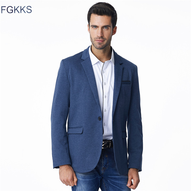 FGKKS Autumn Men Blazers 2019 Men Fashion Thin Jacket Linen And Cotton Coats Male Blazers Brand Clothing
