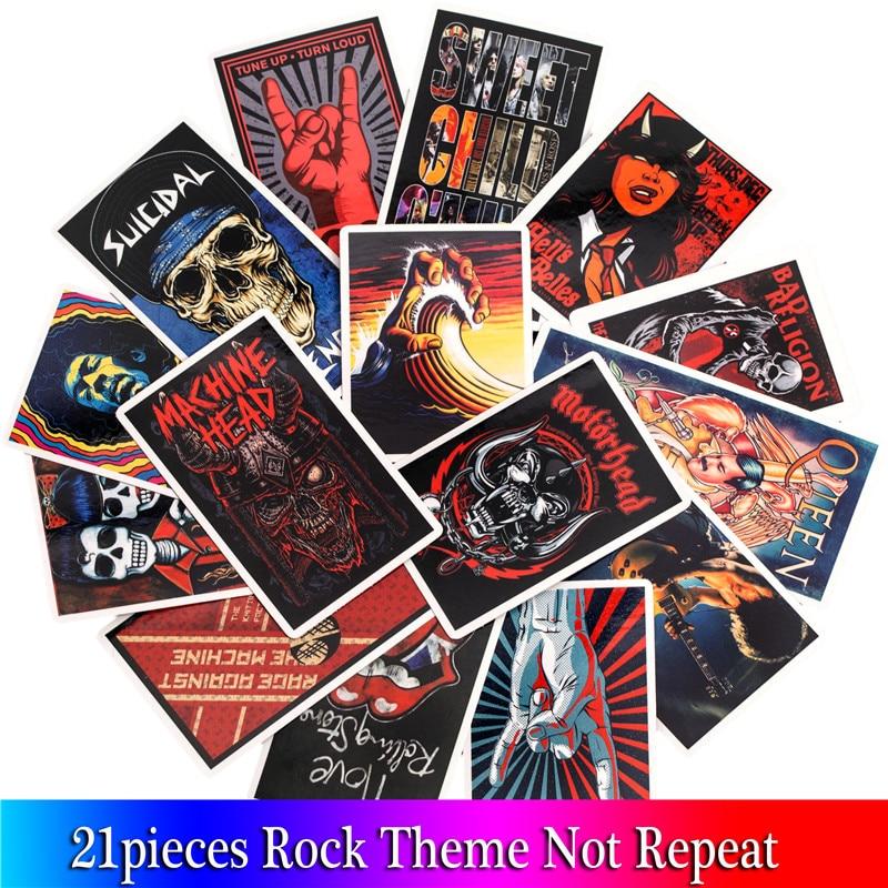 21PCS Terror Rock Stickers Skeleton Dark Billow Rock Sticker For DIY Guitar Luggage Laptop  Phone Fridge  Skateboard Sticker
