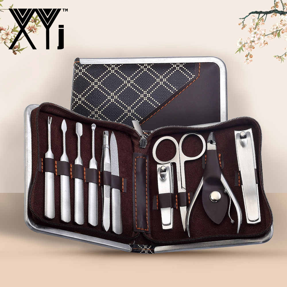 XYj 10 stks/set Universele Manicure Sets Nail Care Tools Set Roestvrij Staal Nagelknipper Kit Nail Cleaner Nail Art Grooming kit