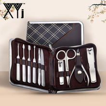 XYj 10 stks/set Universele Manicure Sets Nail Care Tools Set Roestvrij Staal Nagelknipper Kit Nail Cleaner Nail Art Grooming kit(China)