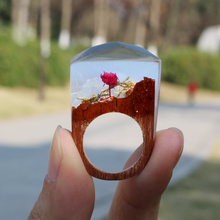 Fimme 2017 Designer Wooden Ring with Rose Blossom DIY Ring  Miniature Scenery Worlds Inside Ring for Women Men Handmade Jewelry