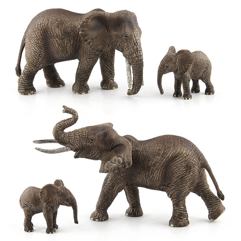 Female Male Elephant Family Figurine Wild Animal Adult Kids Collection Science Education Toys Gift Home Decor