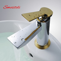 Smesiteli Factory Direct Solid Brass Bathroom Basin Sink Faucet Chrome + Gold Finish Single Hole Mixer Tap Hot & Cold Water Taps