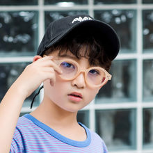 New Anti-Blu-ray Children's Glasses Frame Retro Round Eyeglasses Frames Flat Mirror Children Outdoor Eye Protection UV Glasses(China)