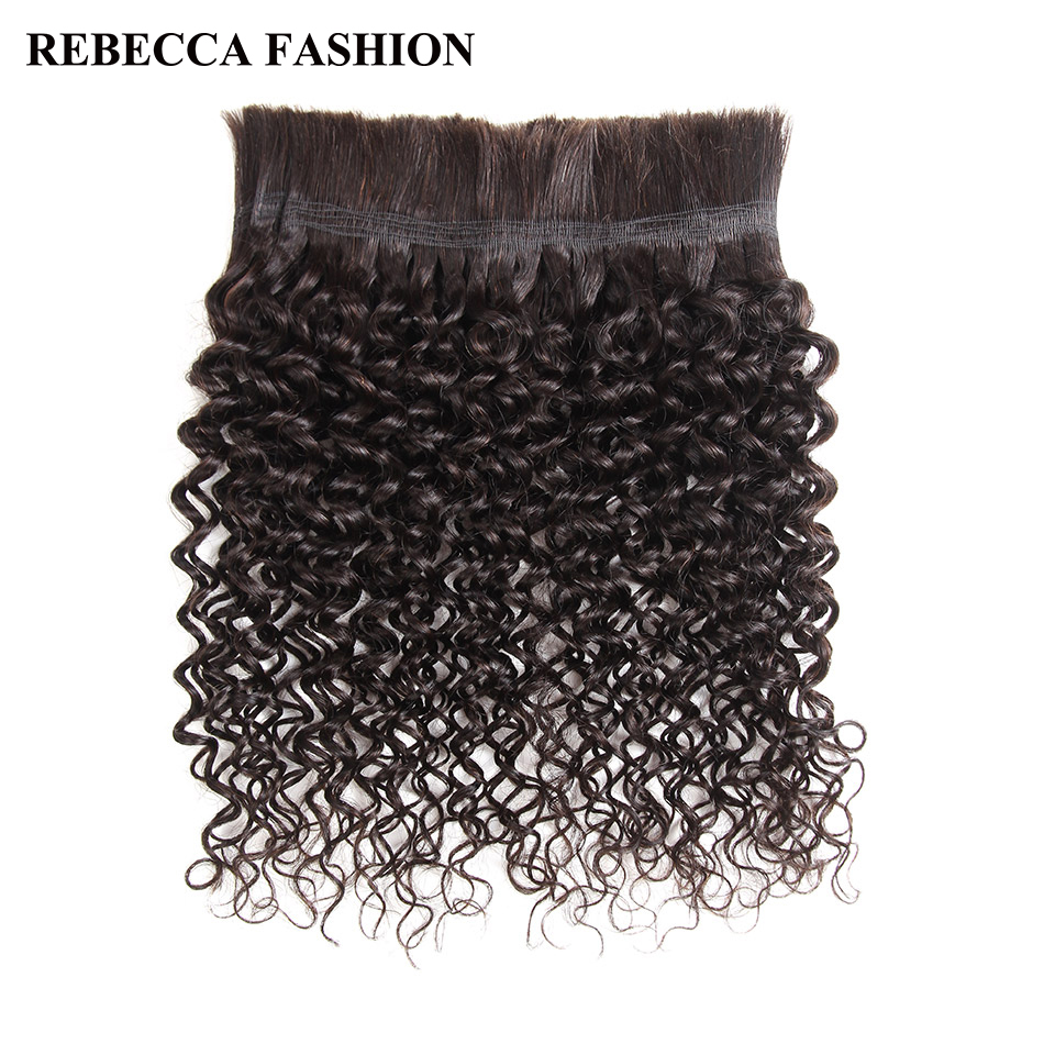 Rebecca No Weft Peruvian Remy Human Hair Crochet Braids Bulk 4 Pcs Jerry Curl Bulk Human Hair For Braiding Natural Color