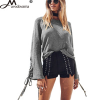 Avodovama M 2018 Women Casual Loose Long Sleeve Knitted Solid Shirts New Fashion Flare Sleeve Blouse