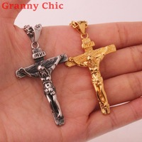 Granny Chic Men's Crucifix Jesus Cross Necklace Stainless Steel Pendant Silver Gold Byzantine Chain Men Necklaces Jewelry Gifts