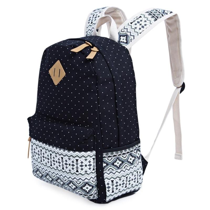Backpacks For Teenage For Girls Canvas Feminine Backpack Casual Dot Print Schoolbag Printing Backpack Backpacks For
