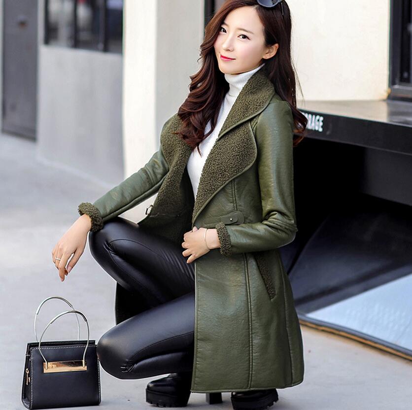 Noir Longue Dans Veste De Manches En Pu m 4xl Green Fourrure marron Longues Coréenne Hiver army À Épaisse Plus La Grande Femmes Taille Cuir Section Mince Clothing zUXx6g0nqw