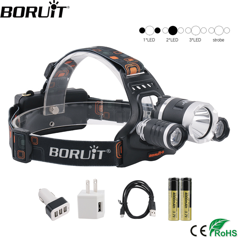 BORUiT RJ-3000 XM-L2 Powerful Headlamp 3000LM 4-Mode Headlight Rechargeable 18650 Waterproof Head Torch for Fishing Hunting