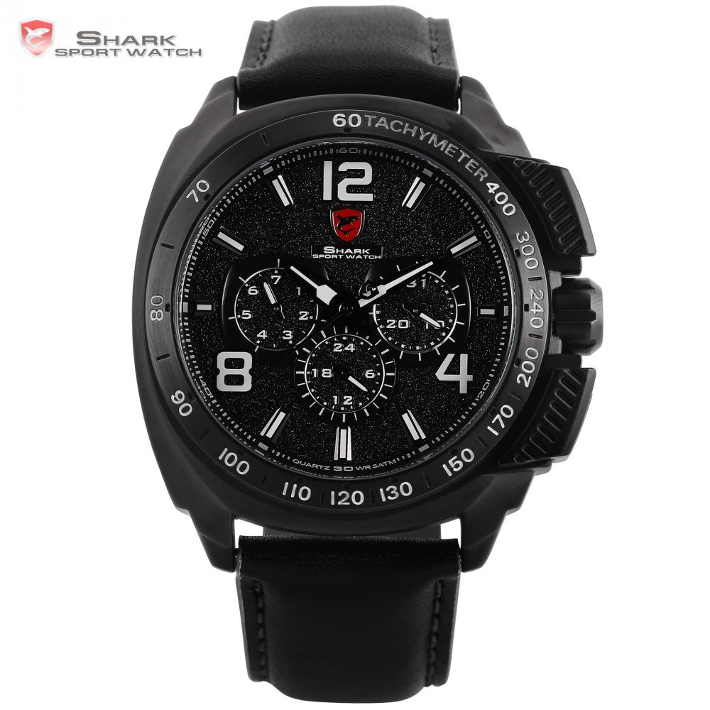 Tiger SHARK Sport Watch Luxury Full Black 6 Hands Date Leather Strap Men Quartz 3 ATM Outdoor Watches Relogio Clock Gift / SH419 shark sport watch black relogio 6 hands
