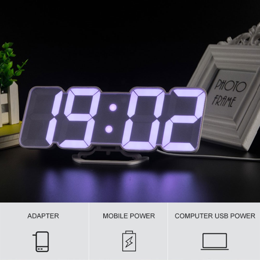 3D LED Digital Alarm Clock Remote Control with 115 Colors Cycle Display Time Date Temperature Display Desktop Wall Clock