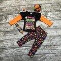 Девушки одежды новорожденных девочек Хэллоуин костюмы дети сладкий лечит сделать меня счастливым одежда девушки осенью наборы с аксессуарами