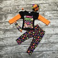 girls clothing baby girls Halloween outfits children sweet treats make me happy clothing girls fall sets with accessories
