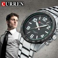 Thời trang Thạch Anh Casual Man Cổ Tay Watch đầy đủ thép Reloj Vogue Business Men Đồng Hồ Đeo Tay Nhãn Hiệu Curren món quà chất lượng bán reglogo