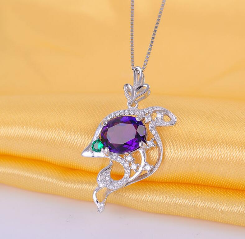 цена на lovely dolphin Amethyst pendant Free shipping Necklace pendant Natural amethyst pendants 925 sterling silver 8*10mm