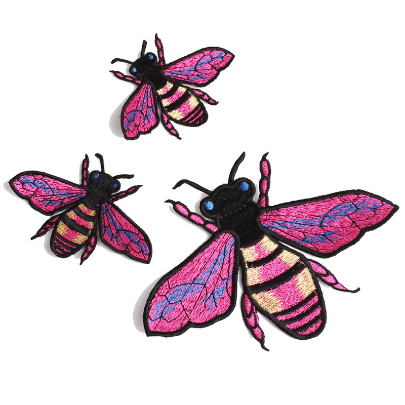 <font><b>Violet</b></font> Honeybee Iron on Patch Bee Applique Embroidery Sewing Clothes Badges Big Patches for Jackets DIY Decorations for <font><b>Jeans</b></font>