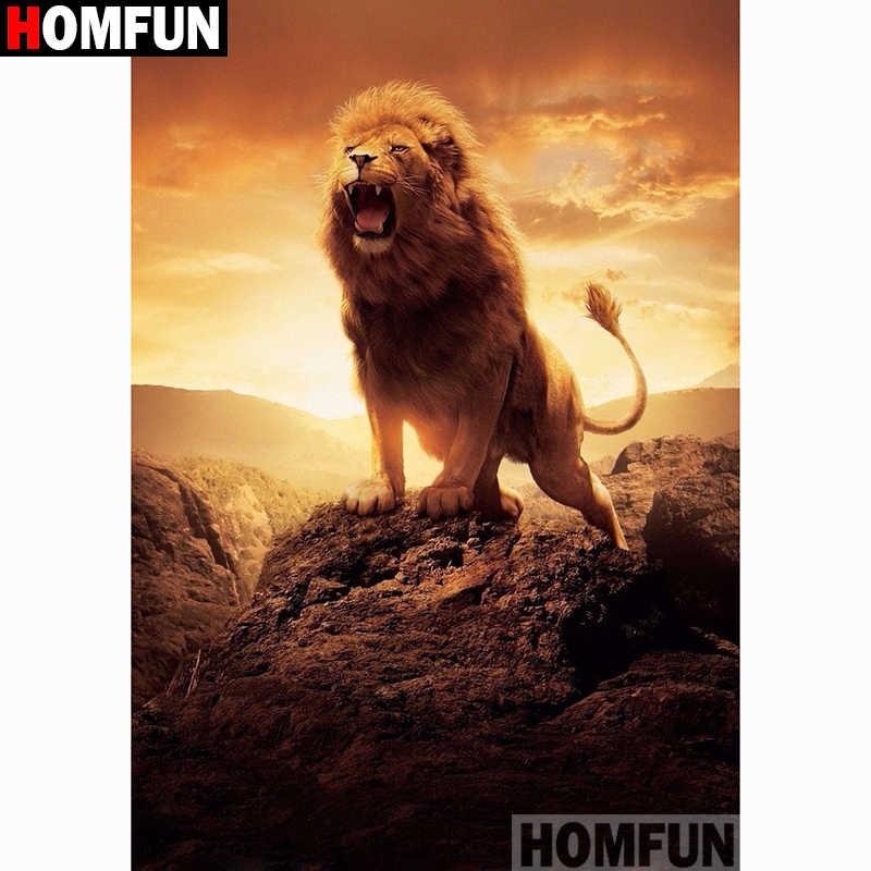 """HOMFUN Voll Platz/Runde Bohrer 5D DIY Diamant Malerei """"Tier lion"""" Stickerei Kreuz Stich 3D Wohnkultur geschenk A11292"""