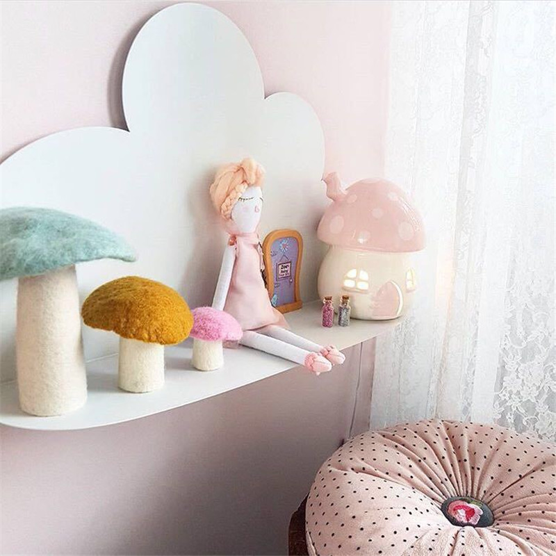 Ins Nordic Wooden Cloud Storage Shelf Baby Kids Room Decorations Wall Shelves Wood Storage Rack Nursery Decor Photography Props