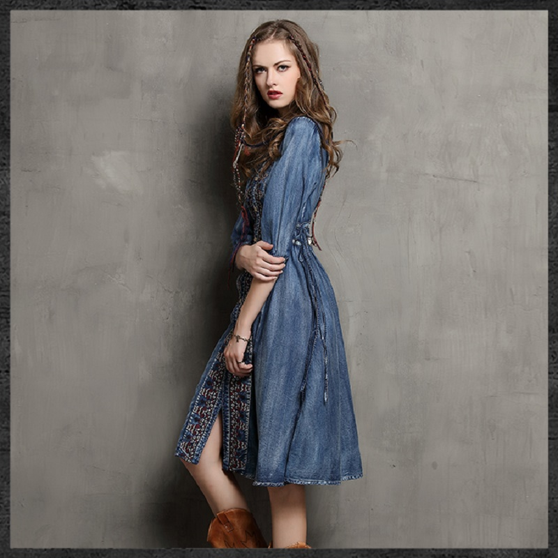 529bee1ddeb Women Bottons Bohemian Vintage Embroidery Jeans Dress Boho Loose Pleated  Bowknot Sashes Long Floral Denim Summer Dress HCH405-in Dresses from Women s  ...