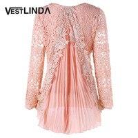 VESTLINDA Lace Blouse Femme Plus Size 5XL Asymmetric Blouses Women High Low Pleated Tops O Neck