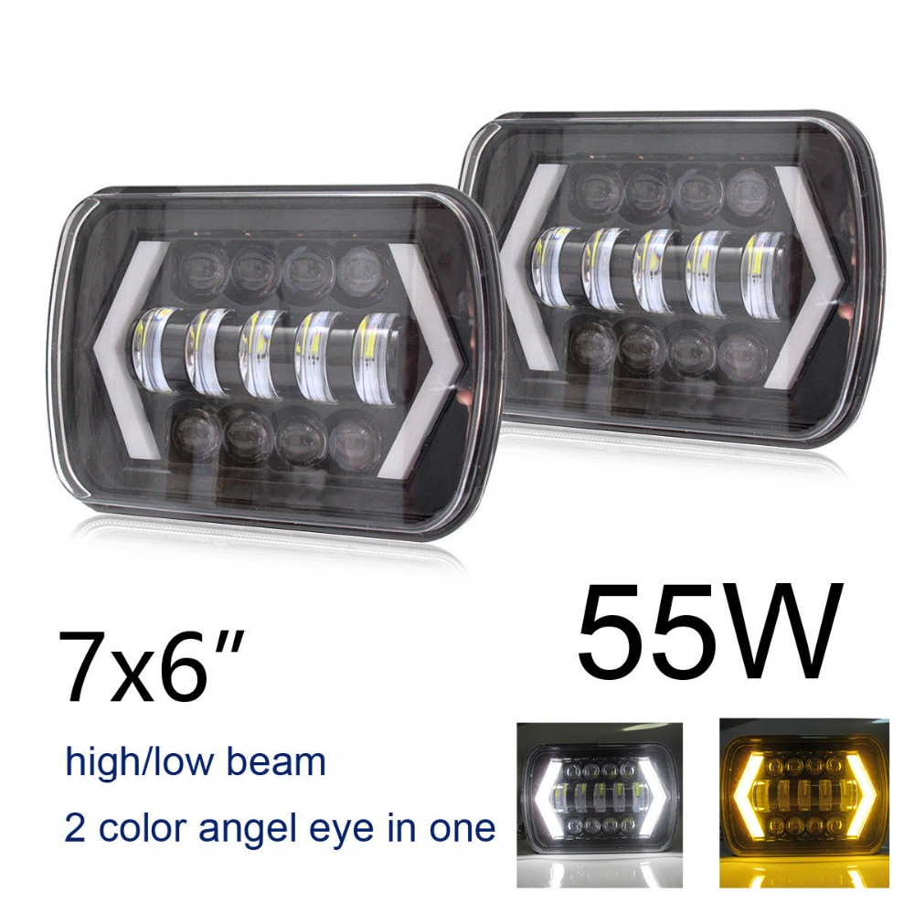 1 Pair 5X7 7X6 inch Rectangular Sealed Beam LED Headlight With DRL LED for H6014 H6052 H6054 H6052 LED Headlight pair 5x7 led headlight rectangular 6x7