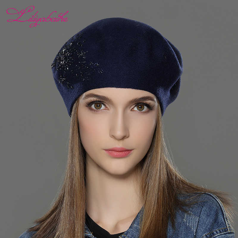 631ad414b3a39 ... LILIYABAIHE New Women Winter Hat wool Knitted Berets Cap with flower  Sequins diamond decoration solid colors ...