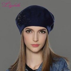 Image 3 - LILIYABAIHE 新女性の冬の帽子ウールニットベレーキャップ花スパンコールダイヤモンドの装飾固体色のファッションの女性帽子