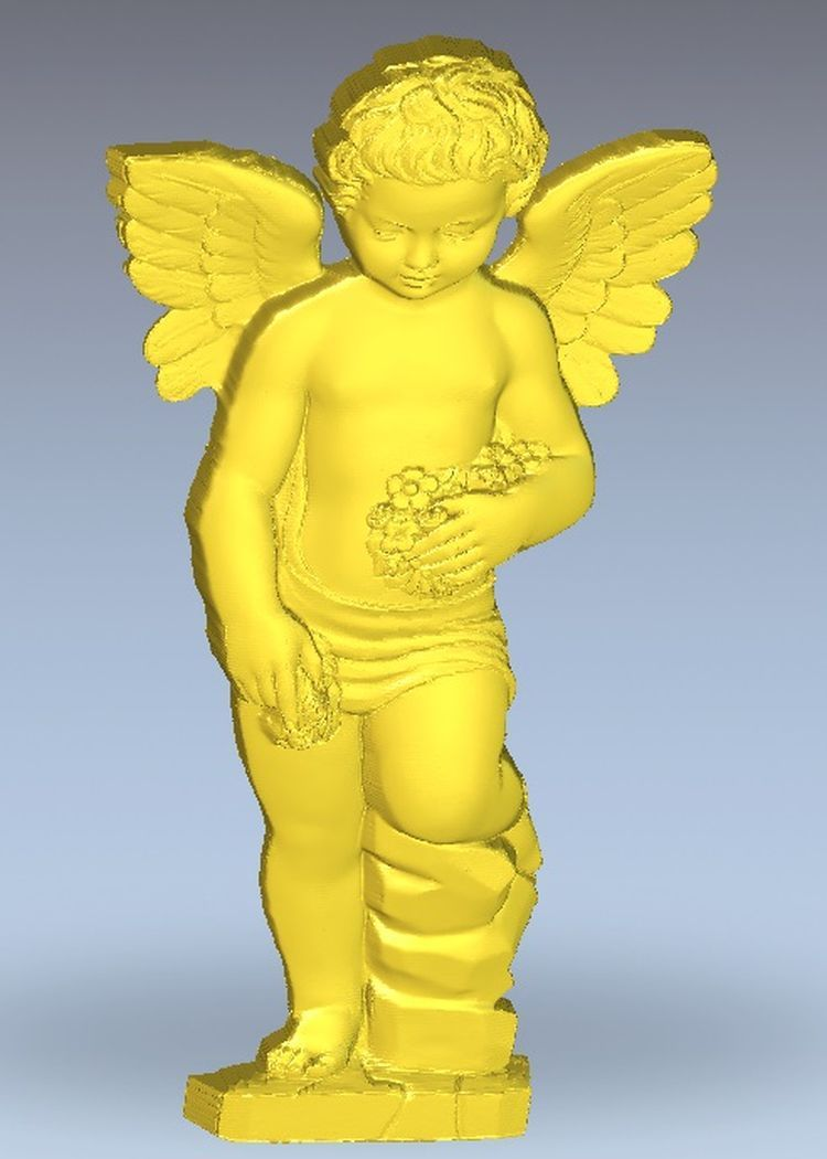 3d Model Relief  For Cnc In STL File Format Angel_wilth_flowers
