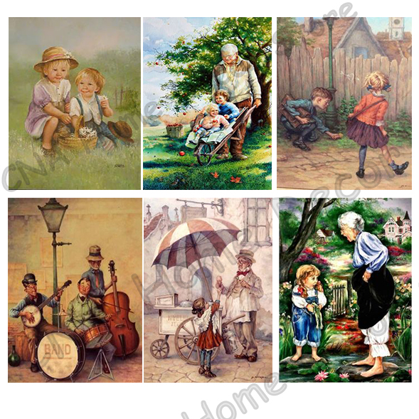 Grandparent Cartoon Playing Children Drill Resin Ribbon Mosaic 5D Diy Embroidery Diamond Painting 3D Cross Stitch Kits crafts