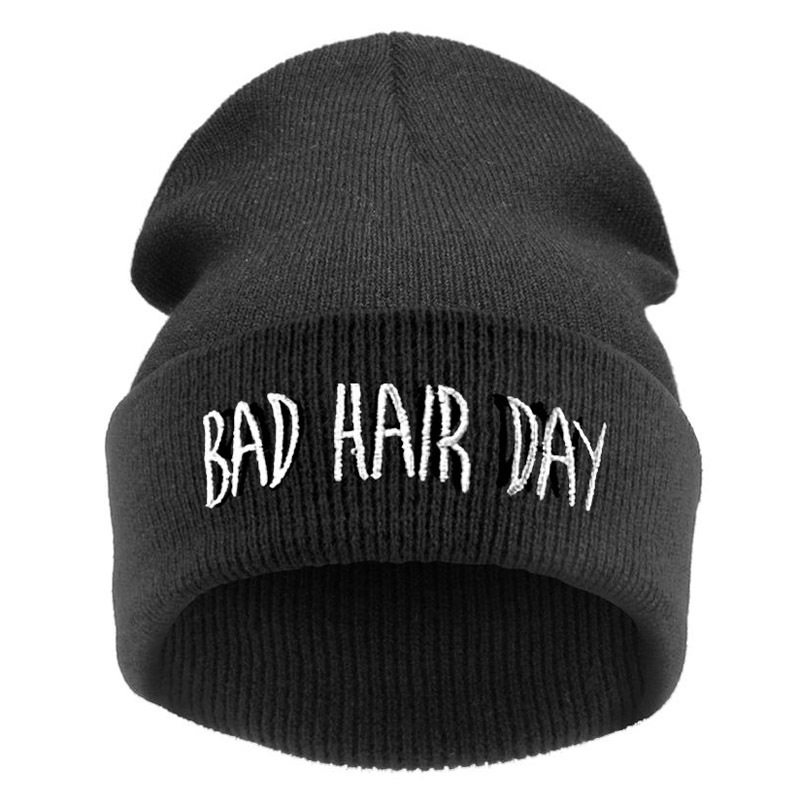 Bad Hair Day Skullies & Beanies for Women Black Color Hats for Winter Knit Beanie Hip Hop Female Cheap Gorras Adult Hats skullies