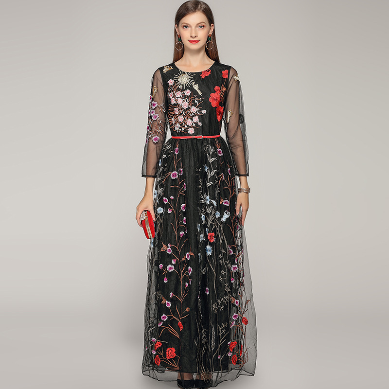 High quality embroidered floral mesh dress Brand new womes party Chic elegant maxi A201