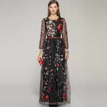High quality embroidered floral mesh dress Brand new wome's party dress Chic elegant maxi dress A201