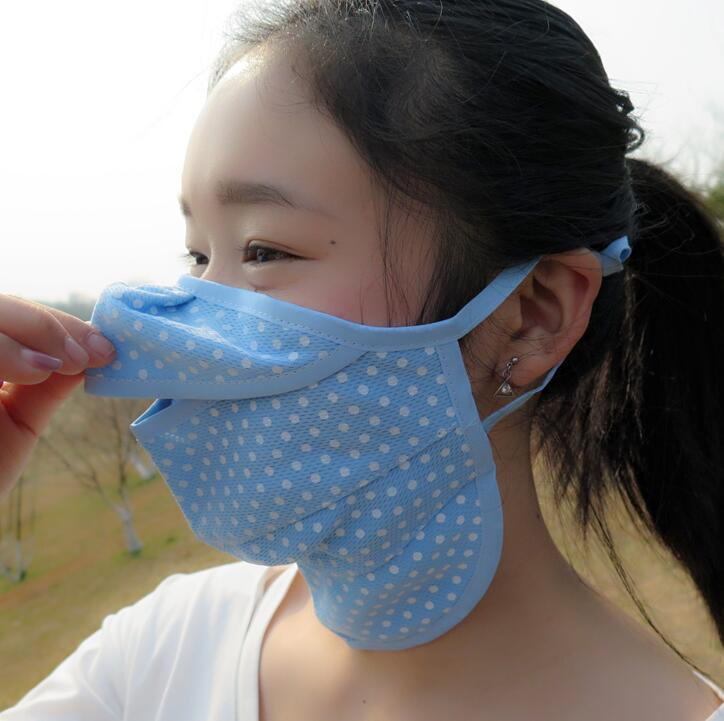 Women's Spring Summer Sunscreen Thin Mask Lady's PM 2.5 Breathable Dot Print Mouth-muffle R653