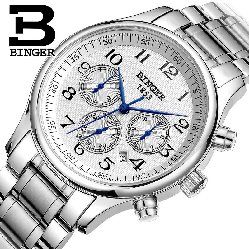 Switzerland watches men luxury brand Wristwatches BINGER Mechanical Wristwatches full stainless steel Waterproof B6036-16 switzerland watches men luxury brand men s watches binger luminous automatic self wind full stainless steel waterproof b5036 10