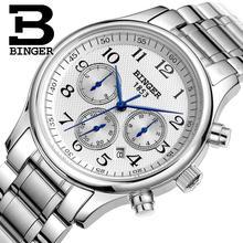 Relógios homens de luxo da marca suíça BINGER Mecânica relógios de Pulso de aço inoxidável completa de Pulso À Prova D' Água B6036-16